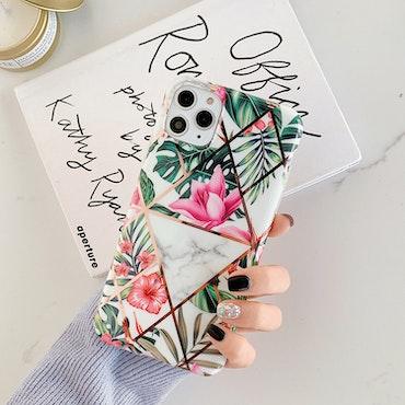 IPhone blommigt marmor skal/mobilskal