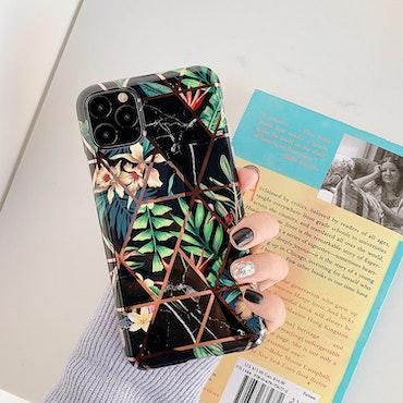 IPhone svart blommigt marmor skal/mobilskal
