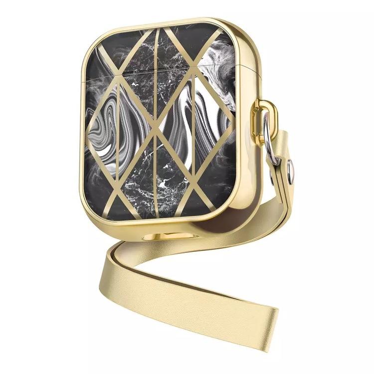 Apple AirPods 1/2 Svart Marmor Gold