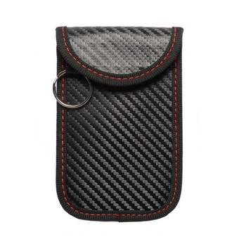 Skyddsfodral keyless-nycklar kolfiberlook svart/röd