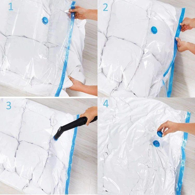 Vakuumpåse för täcken som sparar 80% plats