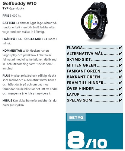 GPS klocka Golfbuddy W10