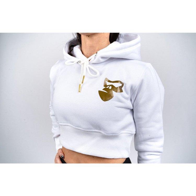 Vit croppad hoodie