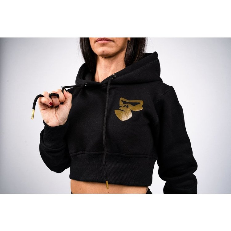 svart croppad hoodie