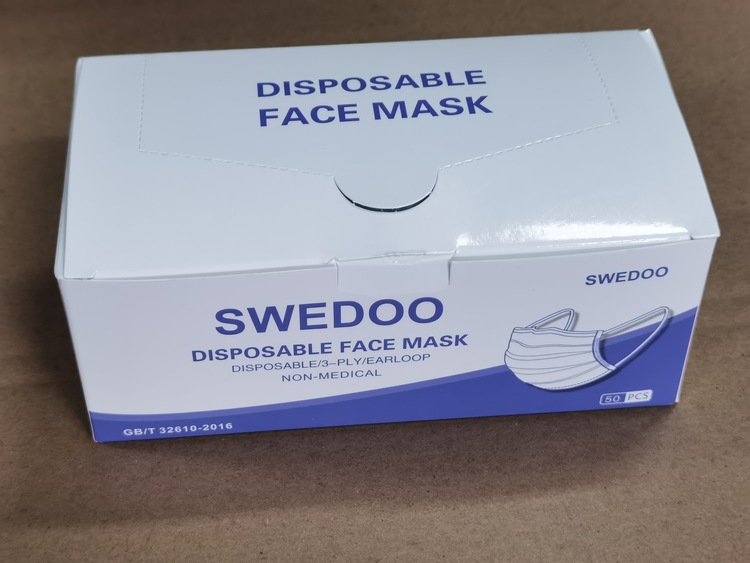 Ansiktsmask , Box-in-Bag, Munskydd Klass 1 att ha i din Bag