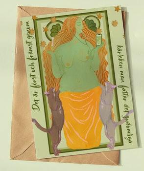 Fyra dubbelvikta konstkort - Kärleksgudar