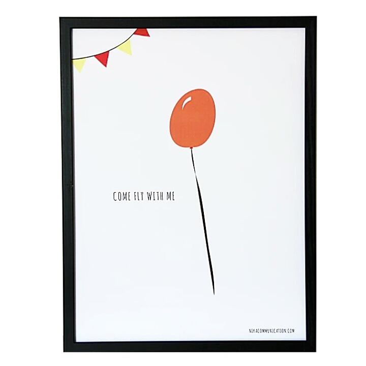 Print med röd ballong