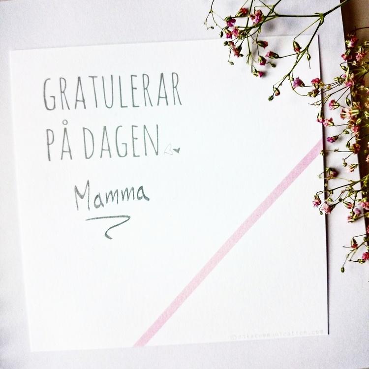 Gratulationskort - Rosa 8cm