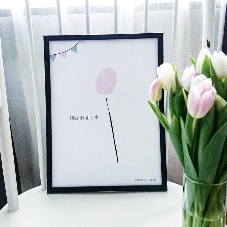 poster med rosa ballong