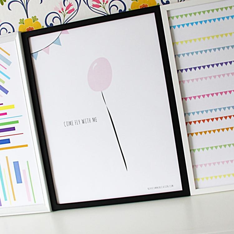 Print med rosa ballong
