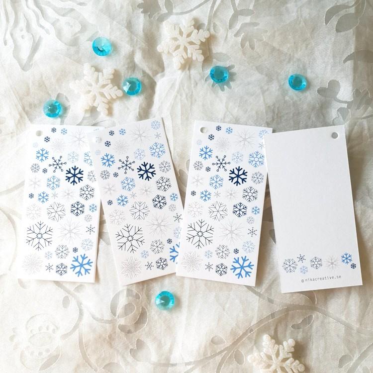 Pakettaggs med snöflingor