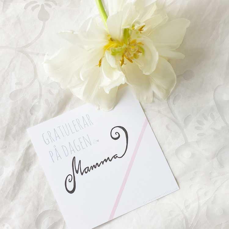 Gratulationskort - Rosa 12cm