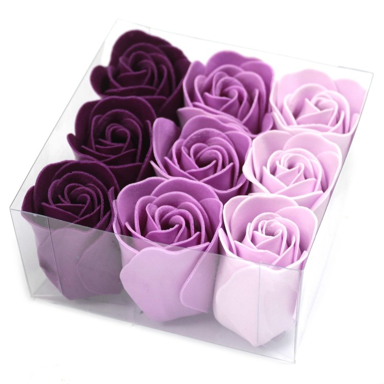 Set of 9 Soap Flowers - Lavendel rosor