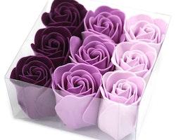 Set of 9 Soap Flowers - Lavendel rosor