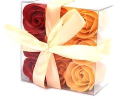 Set of 9 Soap Flowers - Peach rosor