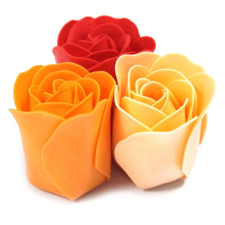 Set of 9 Soap Flowers - Peach rosor