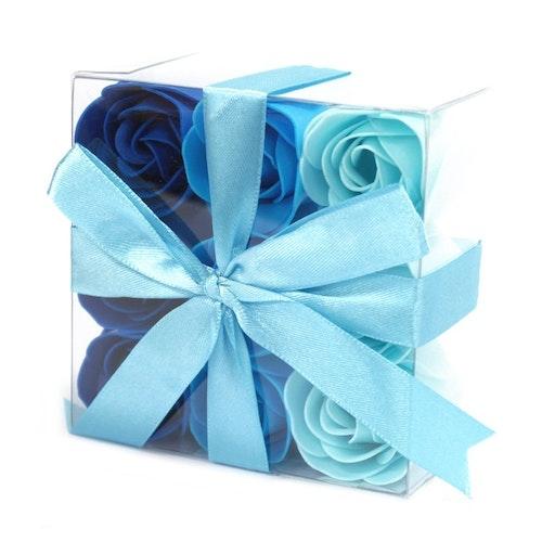 Set of 9 Soap Flowers - Blå bröllopsrosor