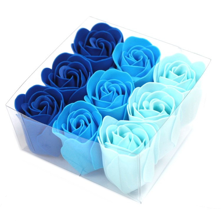 Set of 9 Soap Flowers - Blå bröllopsrosor