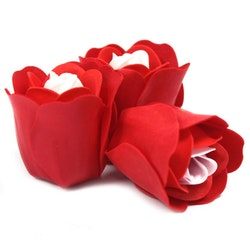 Set of 3 Soap Flower Heart - röda rosor