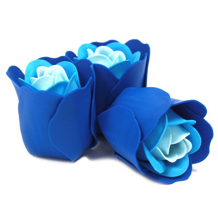 Set of 3 Soap Flower Heart - Blå bröllopsrosor