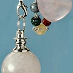Rosenkvarts pendel med chakrakedja