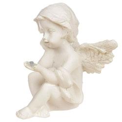Sittande ängel med mineralsten