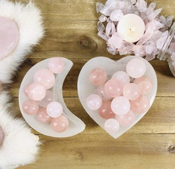Selenit skål i hjärta/halvmåne