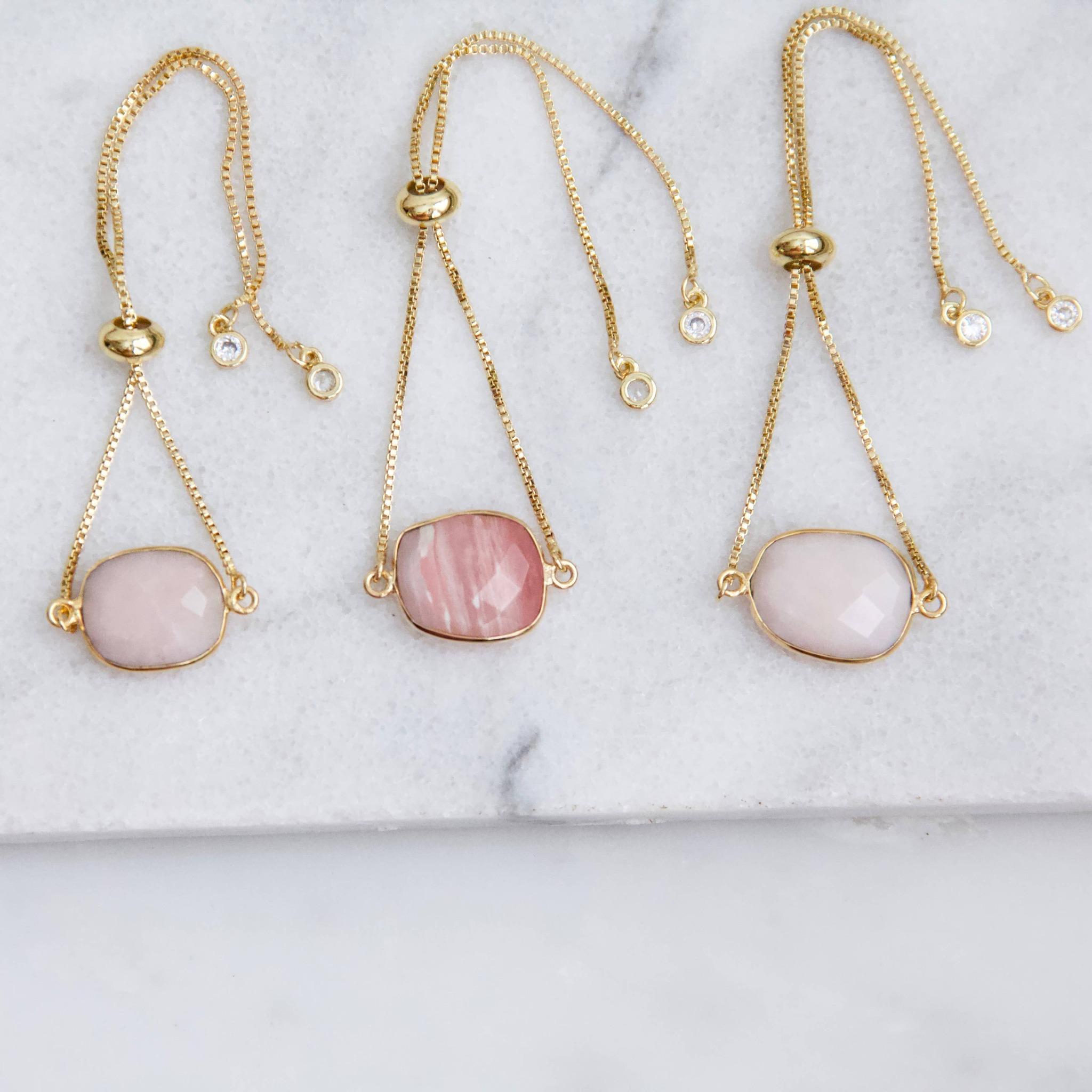 Rosa Opal - Justerbar Armband