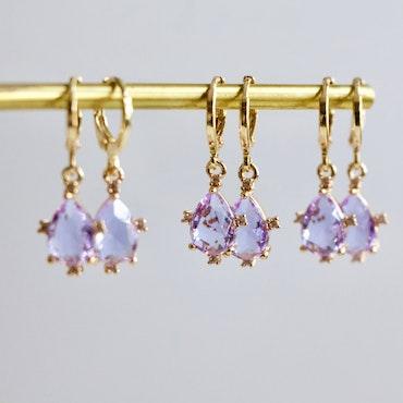 Lavendel - Örhängen + Justerbar Armband