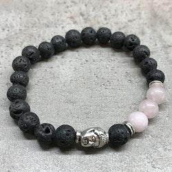 Armband Lavasten Rosenkvarts Buddha
