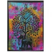 Bomullskonst Livets Träd och Elefant