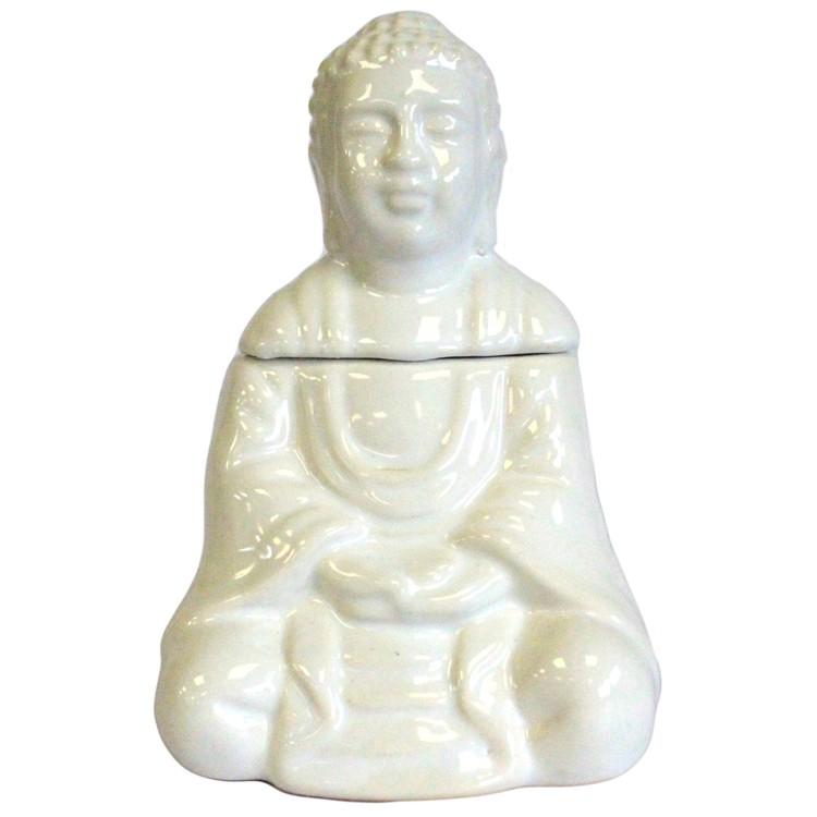 Sittande Buddha Vit