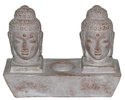 Ljushållare med 2 st Buddhahuvuden