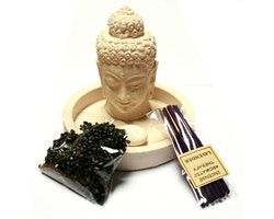 Buddhahuvud ink stenar och 10 små rökelser