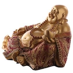 Sittande Happy Buddha med säck i Rött och Guld