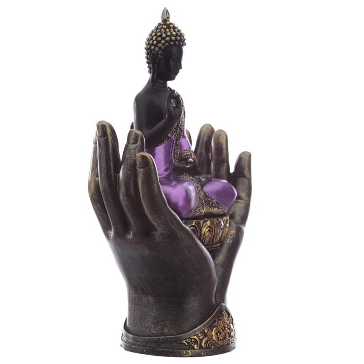 Lila och Svart Thai Buddha i Händer