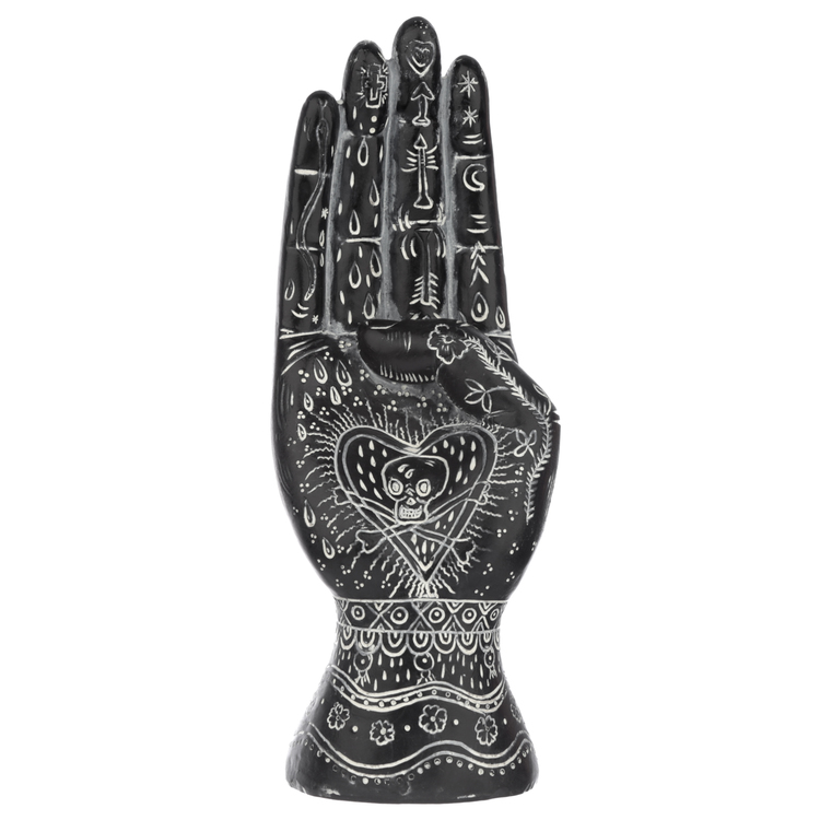 Svart och Vit Mantrisk  Hand Medium