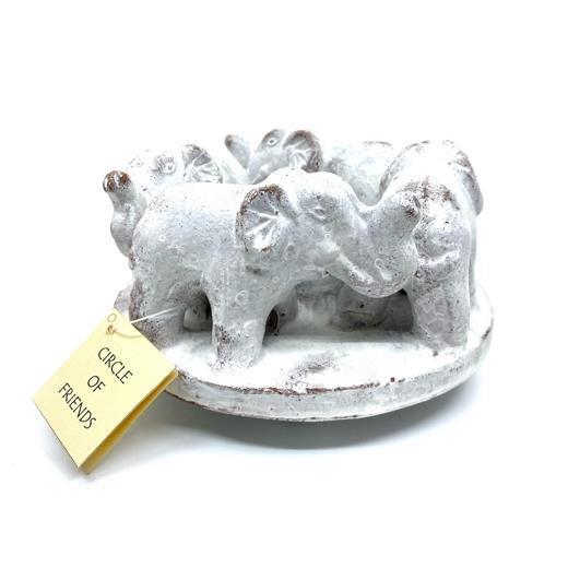 Ljusstake - Keramik elefanter vit