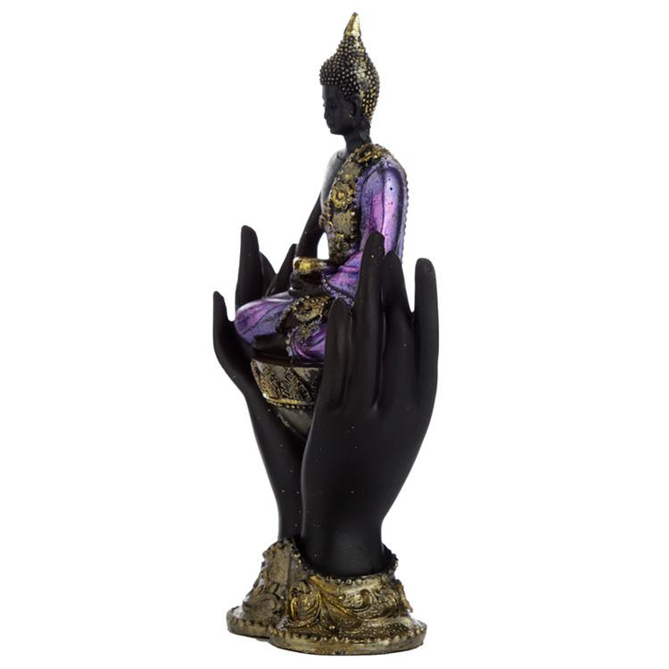 Lila, Guld och svart Thai Buddha i händer Stl S