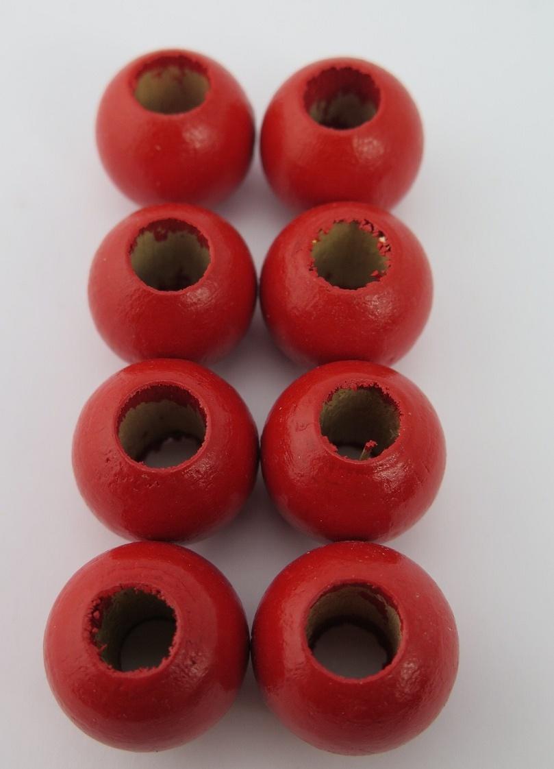 Röda träpärlor 15mm