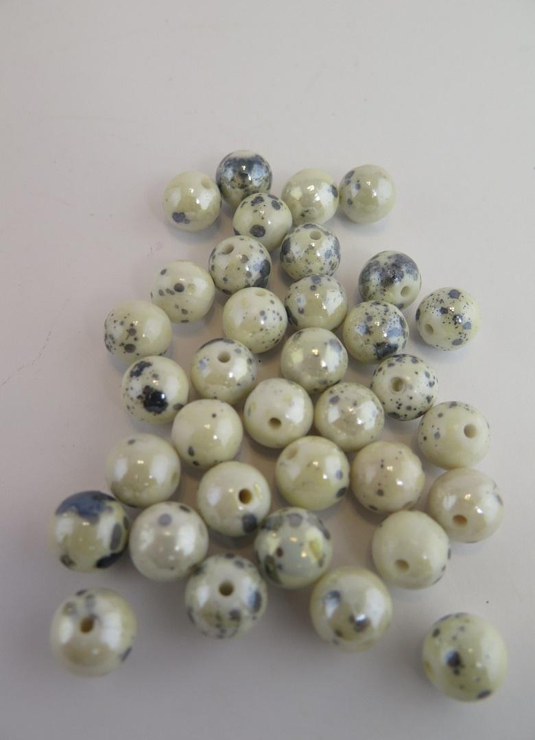 Pärla vit/blå melerad 10mm