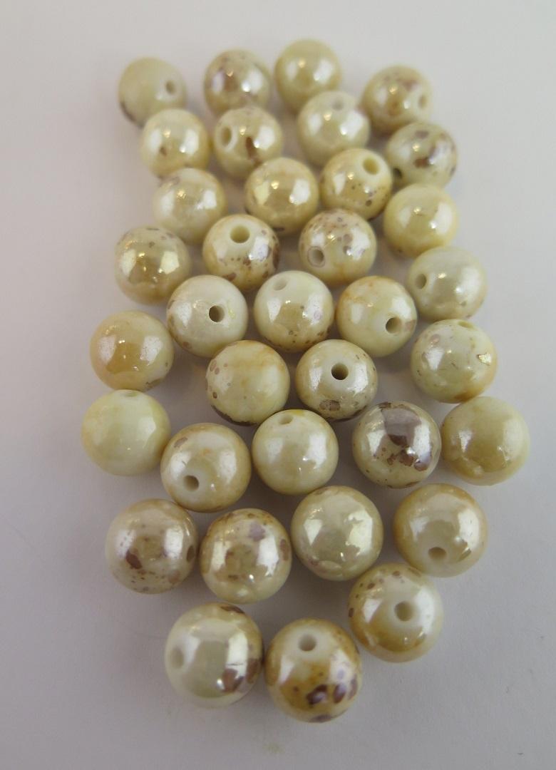Pärla beige/brun melerad 10mm