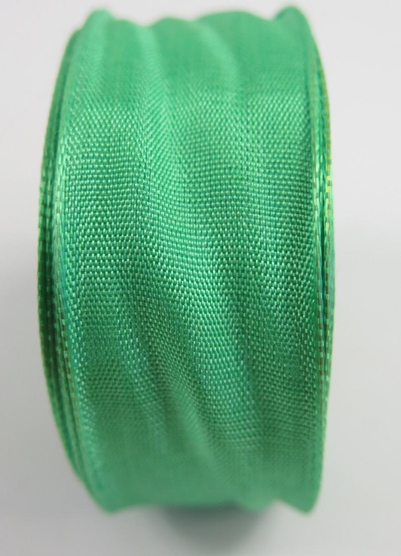 Sidenband med ståltrådskant grön