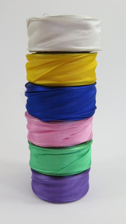 Sidenband med ståltrådskant rosa