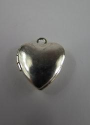 Medaljong hjärta silverfärgat