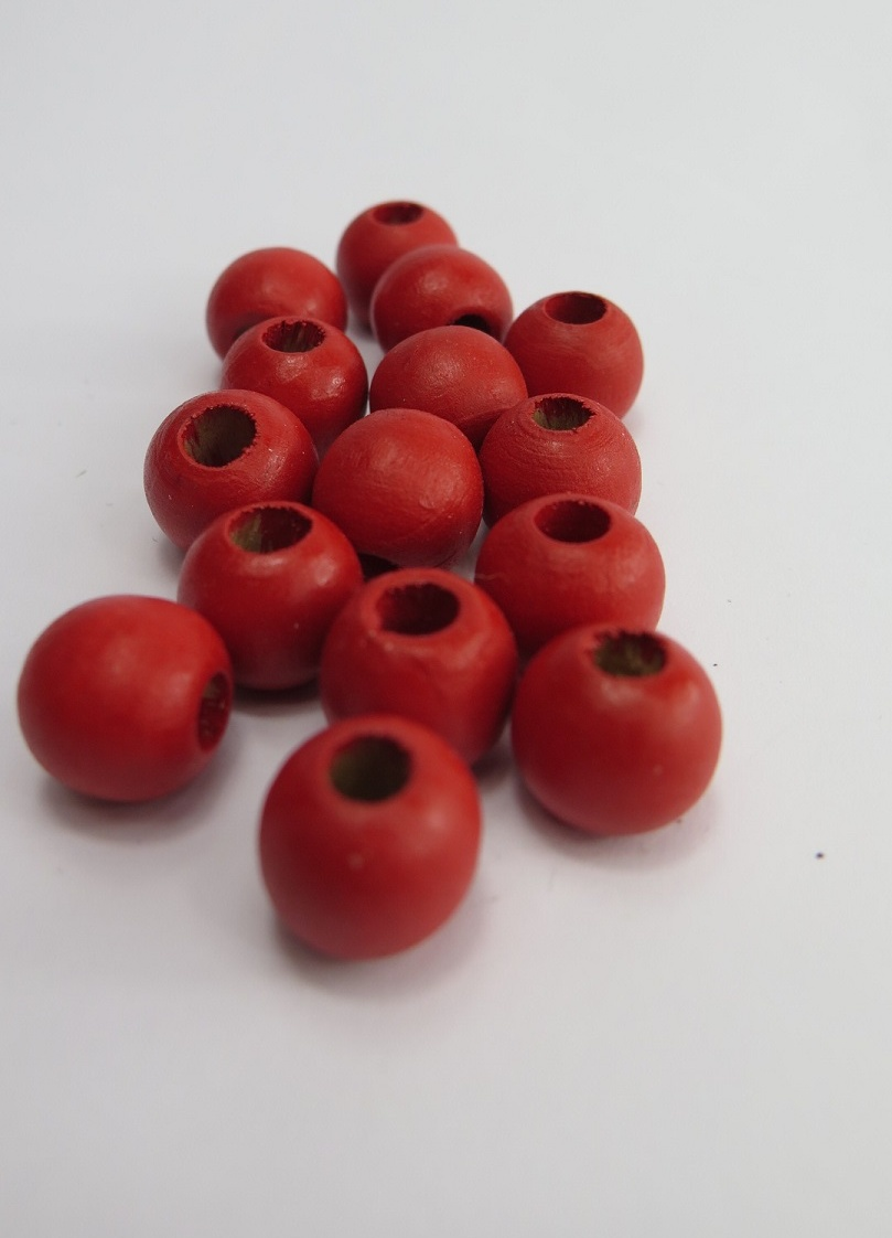 Röda träpärlor 11mm