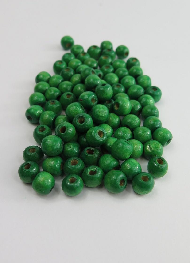Gröna träpärlor 8mm