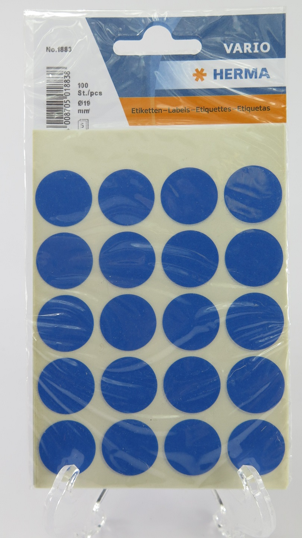 Herma Blå prick 19mm
