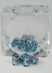 Glaspärlor avlånga Isblå/svart