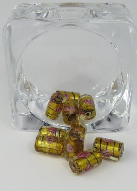 Glaspärlor avlånga Guld/svart